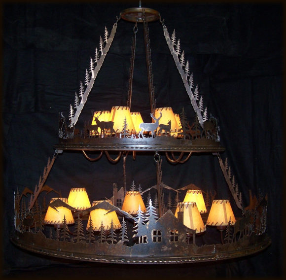 Lodge 2 tiered chandelier rustics lodge 2 tiered chandelier aloadofball Image collections